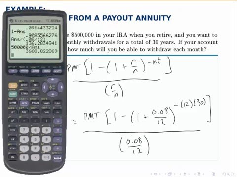 Finance Example Withdrawing from a Payout Annuity - YouTube - annuity equation