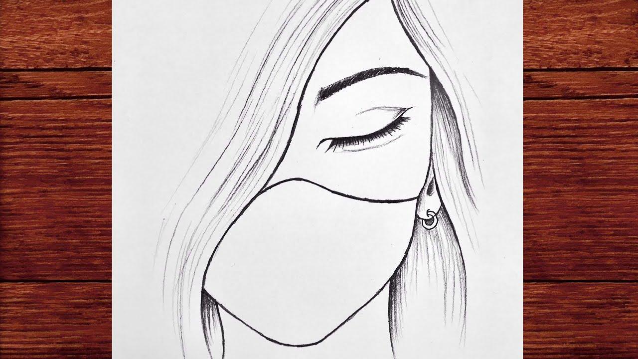 Kolay Maskeli Üzgün Kız Çizimi - Bir Kız Nasıl Çizilir - Karakalem Çizimleri 2021
