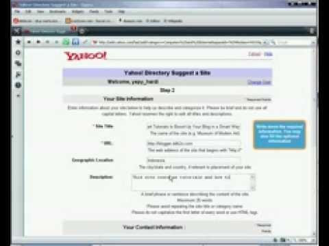Submit website to Yahoo Directory