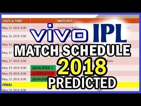VIVO Indian Premiere League Cricket Schedule 2018