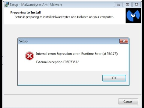 [Solves] 'Runtime Error (at 57:177): External exception E06D7363.' [Malwarebytes]