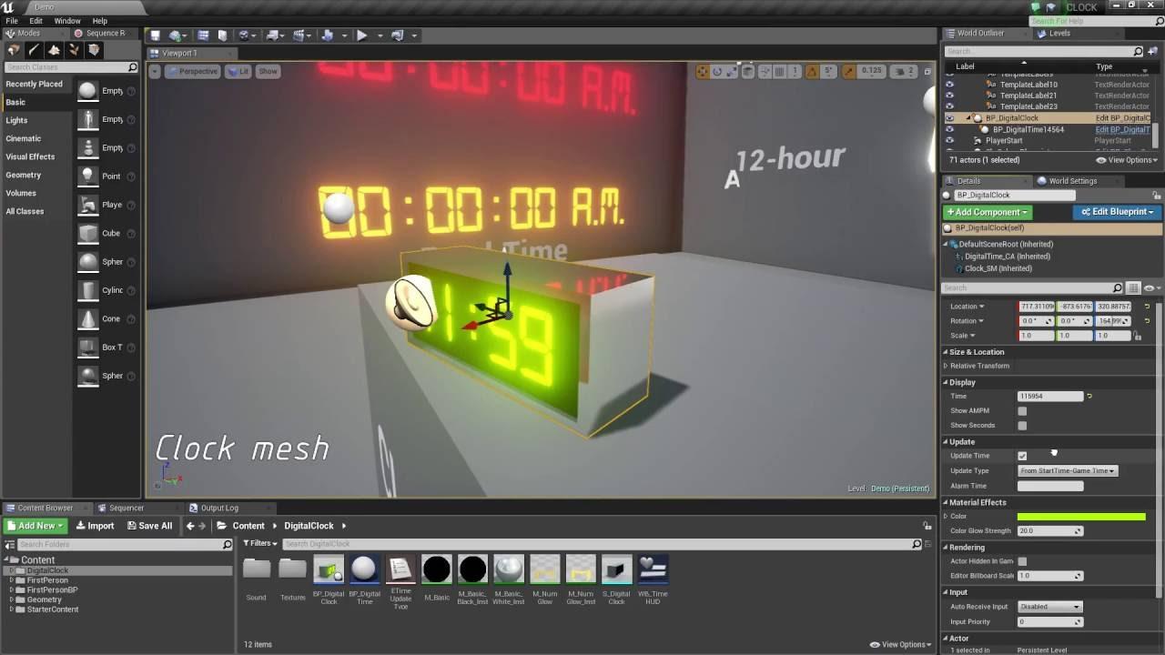 Digital time alarm clock ue4 asset pack youtube digital time alarm clock ue4 asset pack malvernweather Gallery