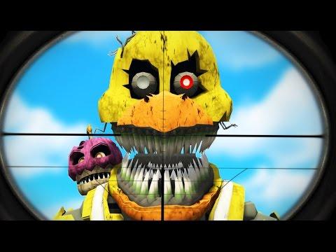 SNIPE THE NIGHTMARE ANIMATRONICS! (GTA 5 Mods FNAF Funny Moments) Garry's Mod
