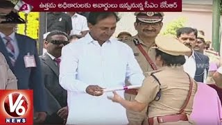 cm kcr present medals to telangana state police   formation day celebrations   v6 news
