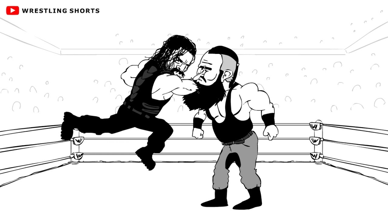 roman reigns vs braun strowman payback cartoon youtube