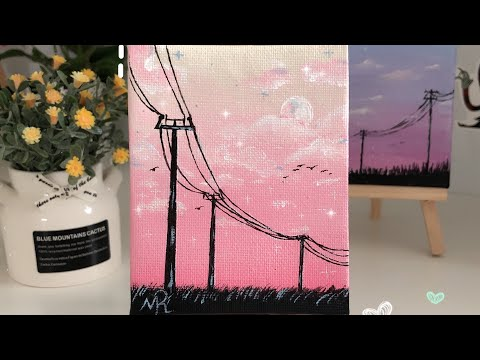 #paint Easy acrylic landscape painting part 2 🌸✨ رسم منظر سهل للمبتدئين ج٢