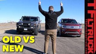Which Is Faster? 2003 Hummer H2 vs 2018 Ford Expedition Drag Race!
