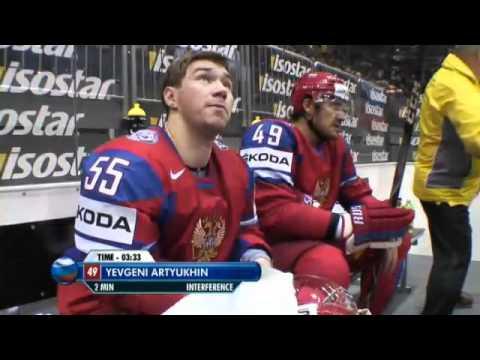 Jääkiekon MM-2011 Venäjä-Slovenia- Jevgeni Artjuhin ajoi päin maalivahtia