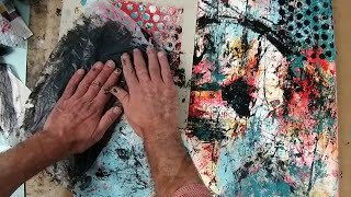 Monoprinting Abstract with acrylic paint on stretched canvas. thumbnail