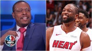 "Paul Pierce, Michelle Beadle, Stan Van Gundy and Chauncey Billups of NBA Countdown react to Miami Heat fans chanting ""Paul Pierce sucks"" during Dwyane ..."