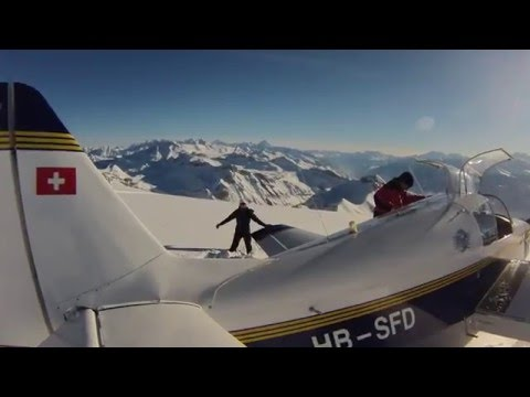 Landing in mountain glacier, Switzerland