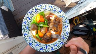 Pan-Seared Chicken Breasts with Pan Sauce and Spring Vegetables; Kenji's Cooking Show
