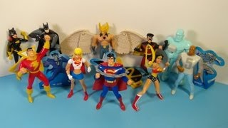 2001 DC SUPER HEROES SET OF 9 JACK IN THE BOX KID'S MEAL TOY'S VIDEO REVIEW