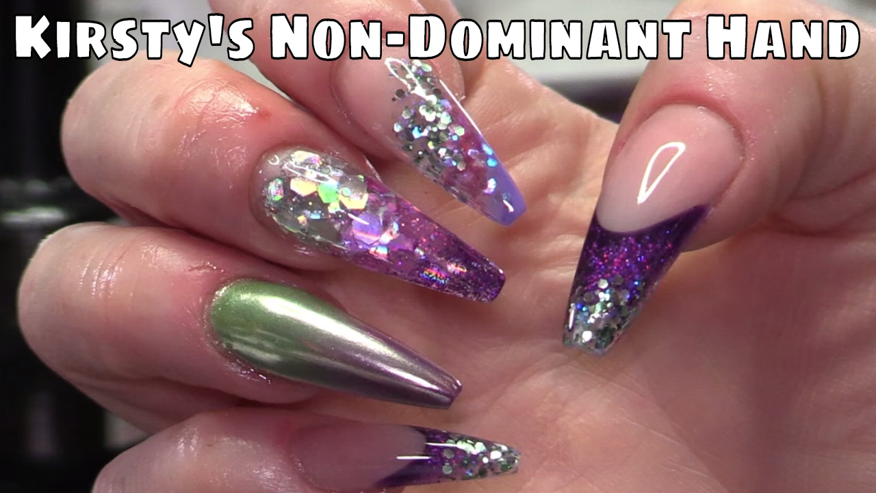 Kirsty\'s Nails Using Her Non-Dominant Hand with Acrylic and Glitter ...