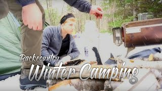 Winter Camping - Overnight in New Hampshire with a Tent and Wood Stove.