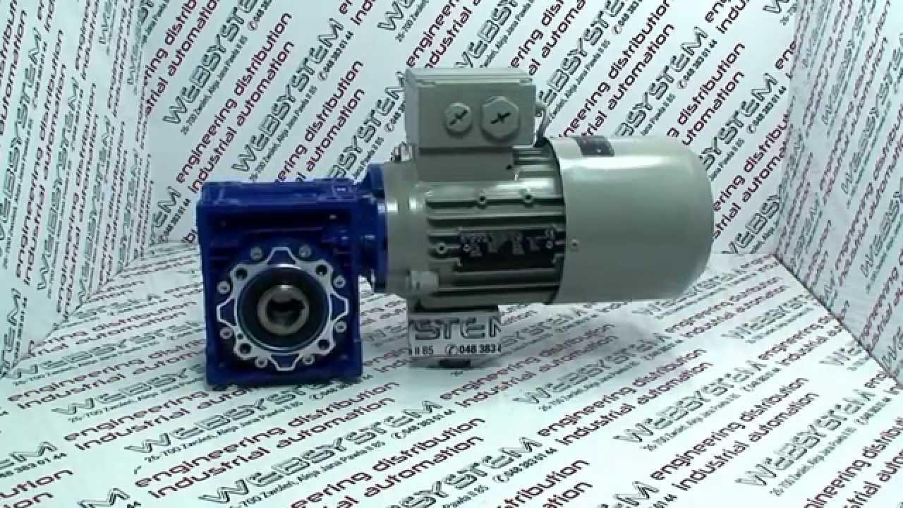 Bardzo dobra Motoreduktor NMRV 050 silnik 0,37kW z hamulcem - YouTube TZ51