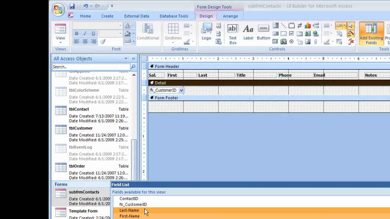 how to create forms in ms access 2010