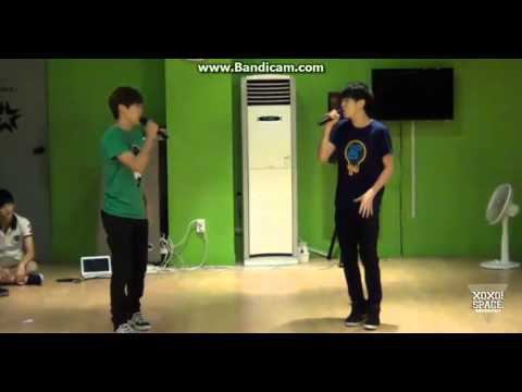 130718 Soonyoung, Seungkwan singing When The Door Closes by BEAST (두준, 동운)