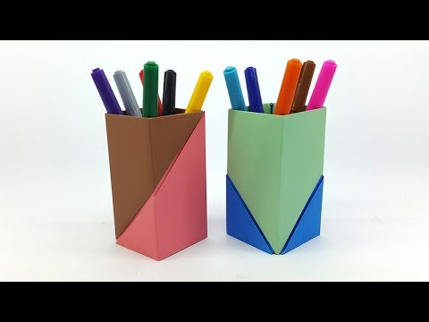 How to make Pen Stand (Origami Pen Holder) - Pencil Holder Ideas