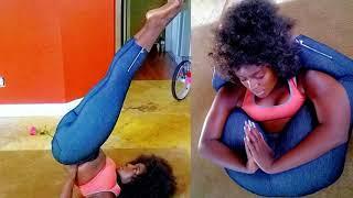 Amara La Negra YOGA selfies have me in awe! FINE singer is so flexible! #LHHMIA #LHHMIAMI