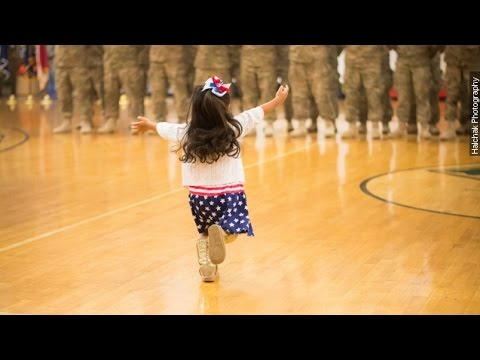 Little Girl Hugs Dad Before Military Ceremony Ends - Newsy