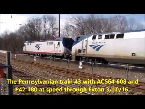 The Pennsylvanian train 43 with ACS64 608 and P42 180