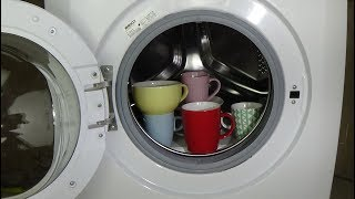 Experiment - test, porcelain crockery in a washing machine - cups, in a washer, movie #43
