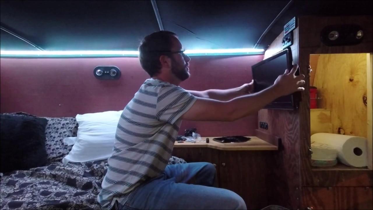 12 Volt Tv Dvd Combo Install In The Camper Van Youtube
