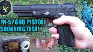 airsoft fn 57 c02 gas blowback pistol shooting test chrono accuracy damage test