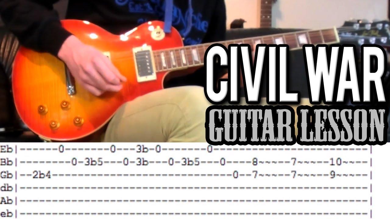 Guns Nroses Civil War Full Guitar Lesson With Tabs Youtube