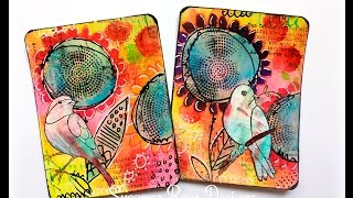 Mixed Media Journal Cards with Art Anthology and Rubber Dance