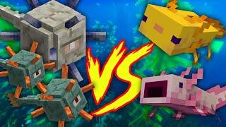 Minecraft Experiment | Axolotl VS Guardians