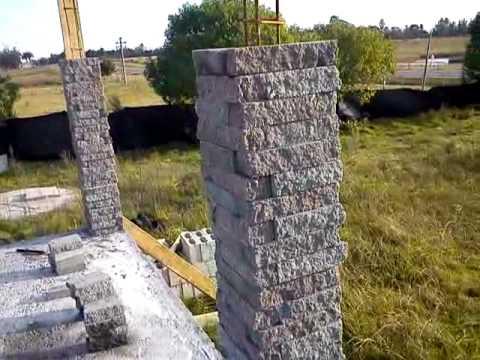 Pilares simil piedra youtube - Como hacer una pared de piedra y cemento ...