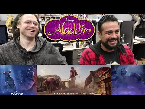 Disney's Aladdin Official Trailer REACTION! THE GENIE LOOKS AWESOME!!! REACTING TO Aladdin trailer 2