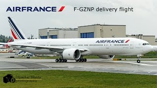 Air France 777-300ER (F-GZNP) delivery in rain-from PAE to Paris CDG-low and close take off_AFR1241