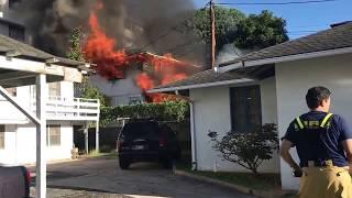 Firefighters battle house fire at 1044 Green St, Makiki - Honolulu, Hi