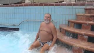 Grandpa in wave pool