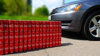 EXPERIMENT CAR vs 100 Coca Cola Cans