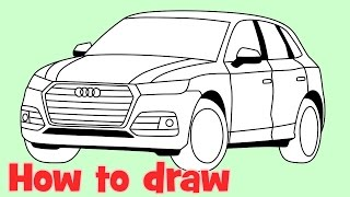 How to draw a car Audi Q5 2017 step by step