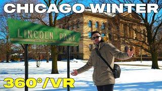 4K 360 CHICAGO WINTER - Walking Tour in Snowy Lincoln Park in Chiberia (VR Video / Winter Vlog)