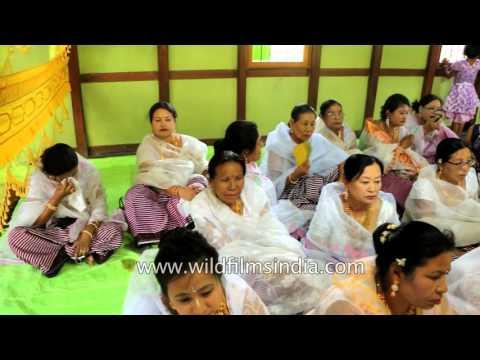 Manipuri groom seeks blessing from elders at wedding mandap