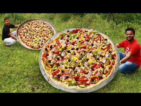 Homemade Pizza Recipe | Dominos Burst Pizza | Giant Veg Pizza | Grandpa Kitchen