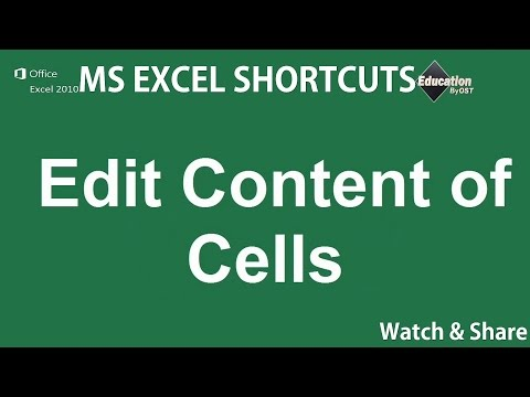 5. Edit Content of Cells - Microsoft Excel Shortcuts - online degrees in education ✔