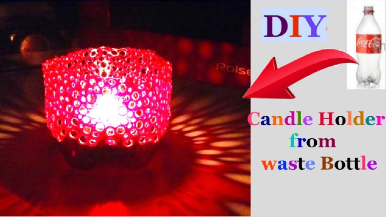 How to make candle stand from plastic bottle christmas for Candle decoration with waste material