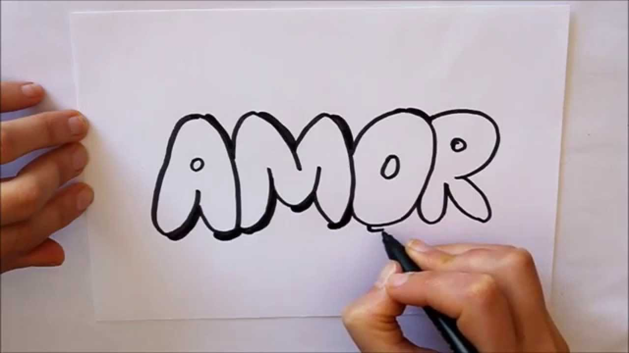 Cmo dibujar AMOR letras Dibuja Conmigo Dibujos de Amor  YouTube