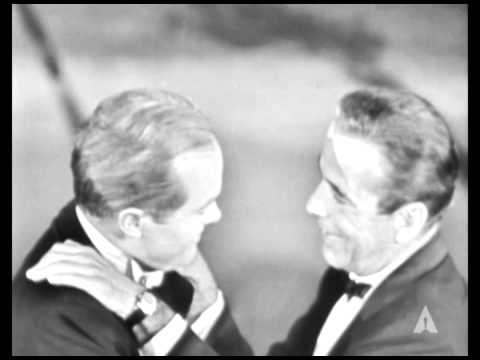 Humphrey Bogart and Bob Hope Cut Up: 1955 Oscars
