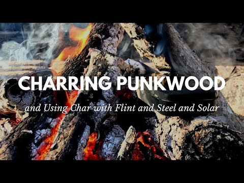 Charring Punk Wood and Using Char with Flint and Steel and Solar