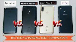 Xiaomi Redmi Note 5 Pro VS Redmi Note 4 VS Redmi 4 VS Infinix Hot S3 - Battery Charging Test