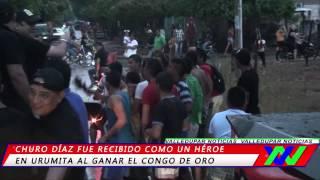 Churo Díaz recibido como héroe en Urumita  y Jorge Oñate recibió el súper congo de oro