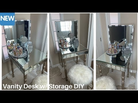 Mirrored Vanity Desk w/ Storage DIY || Glam Home Decor